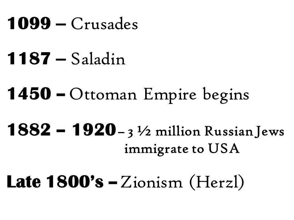 1450 – Ottoman Empire begins 1882 – 1920 – 3 ½ million Russian Jews