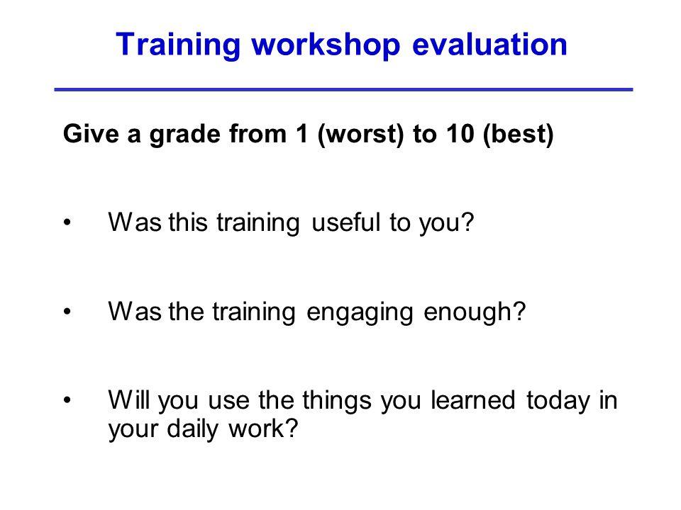 Training workshop evaluation