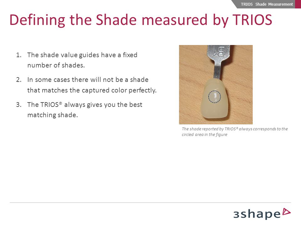 Defining the Shade measured by TRIOS