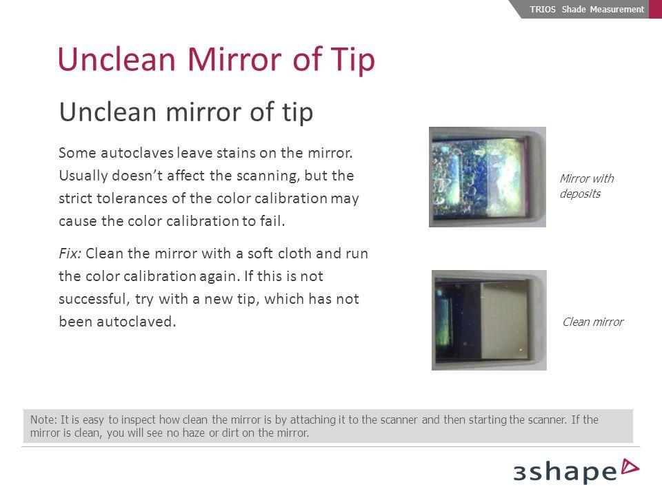 Unclean Mirror of Tip Unclean mirror of tip