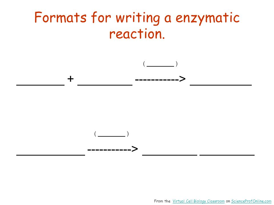 Formats for writing a enzymatic reaction.