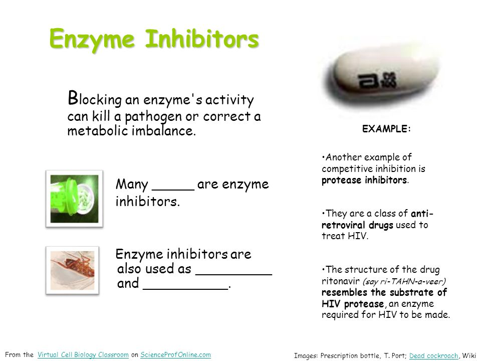 Enzyme Inhibitors Blocking an enzyme s activity can kill a pathogen or correct a metabolic imbalance.