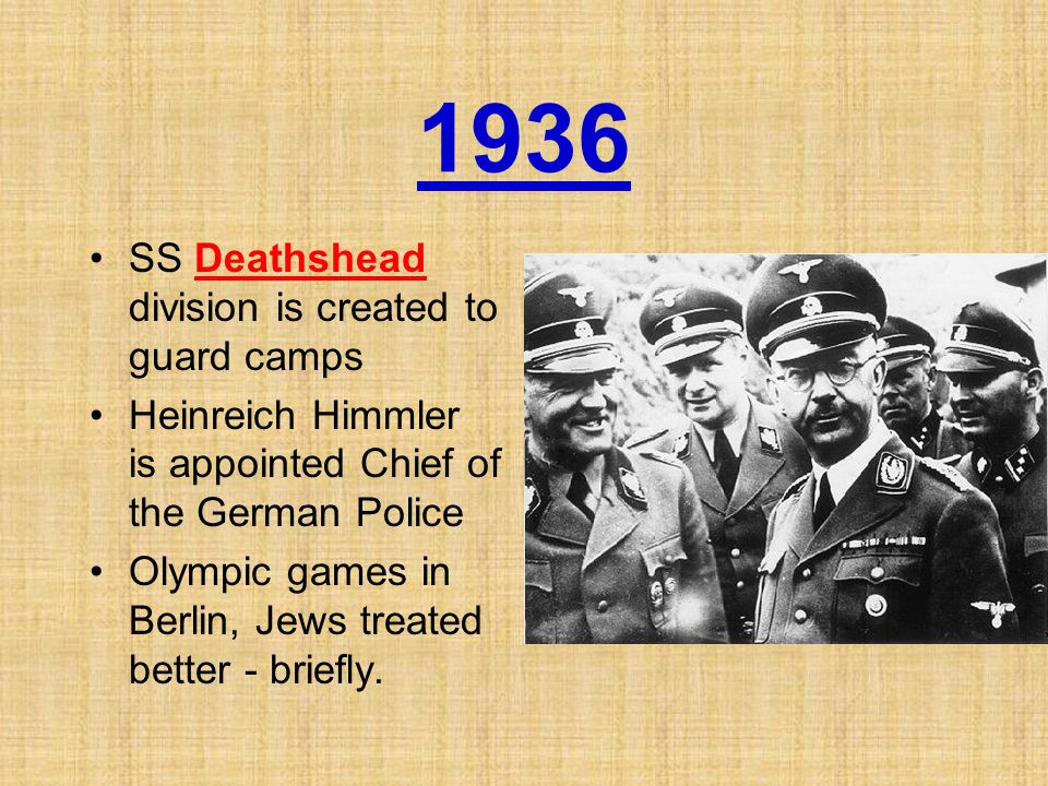 1936 SS Deathshead division is created to guard camps