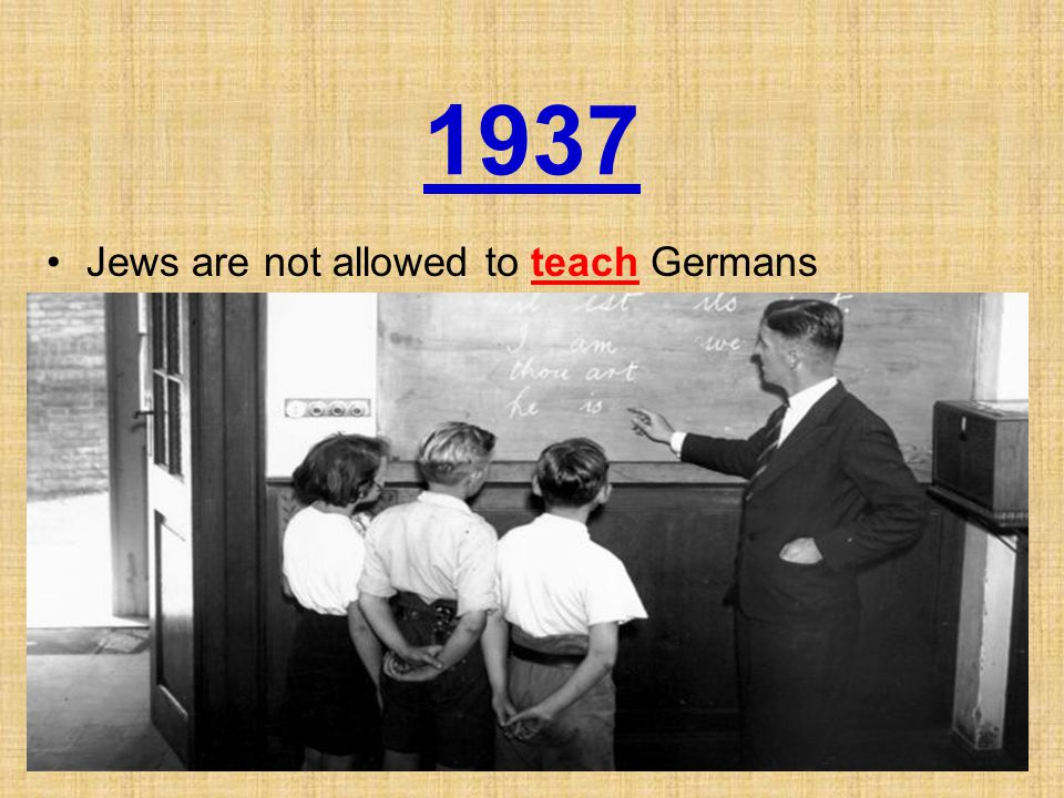 1937 Jews are not allowed to teach Germans