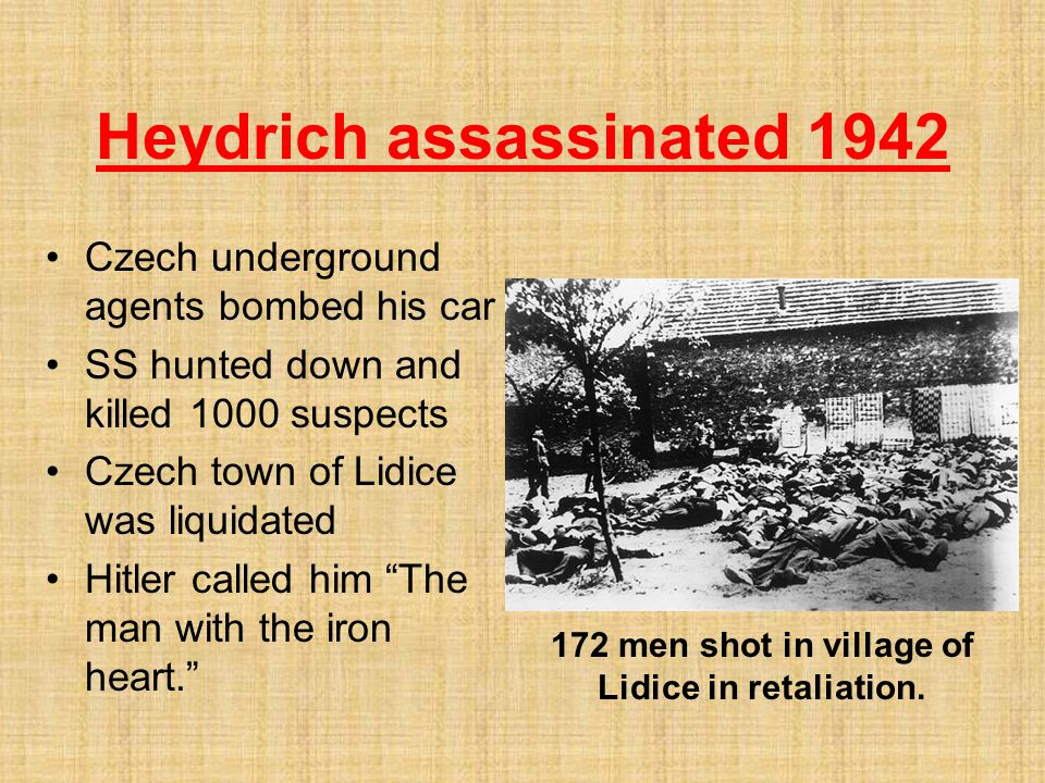 Heydrich assassinated 1942