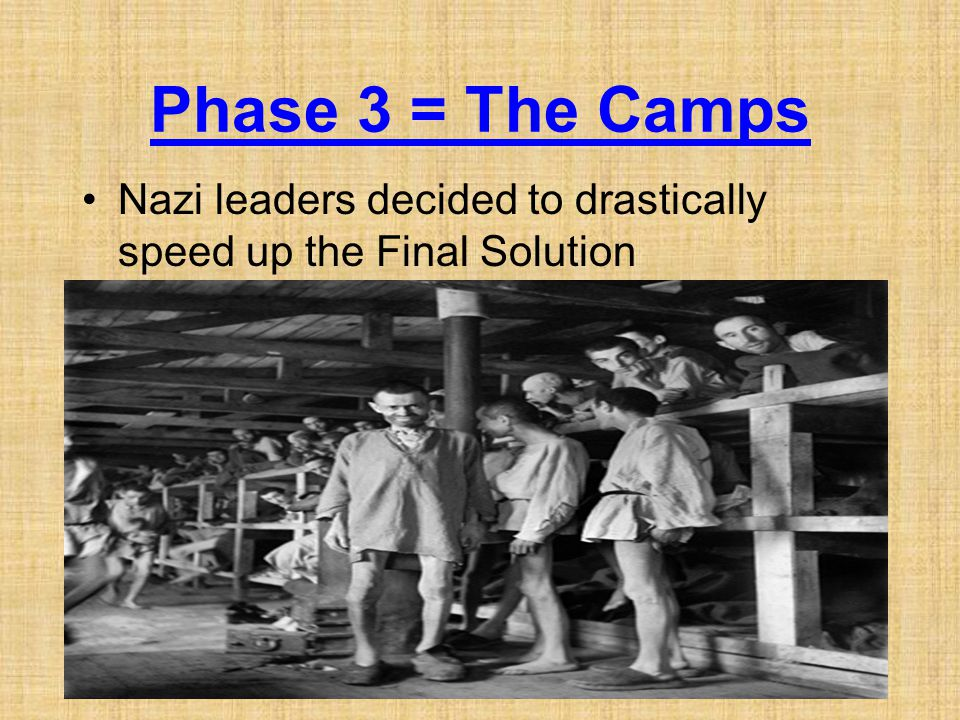 Phase 3 = The Camps Nazi leaders decided to drastically speed up the Final Solution