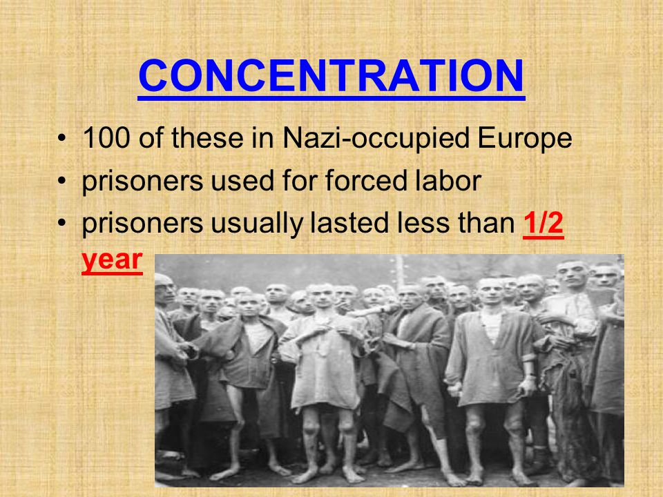 CONCENTRATION 100 of these in Nazi-occupied Europe