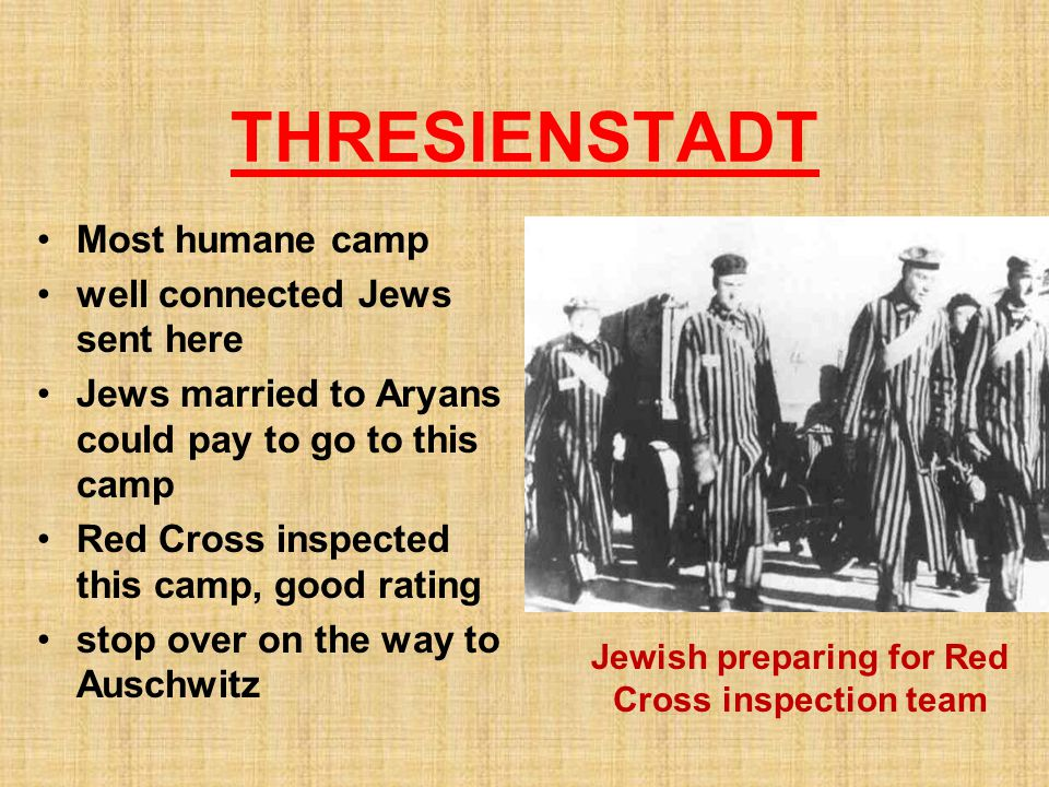 Jewish preparing for Red Cross inspection team