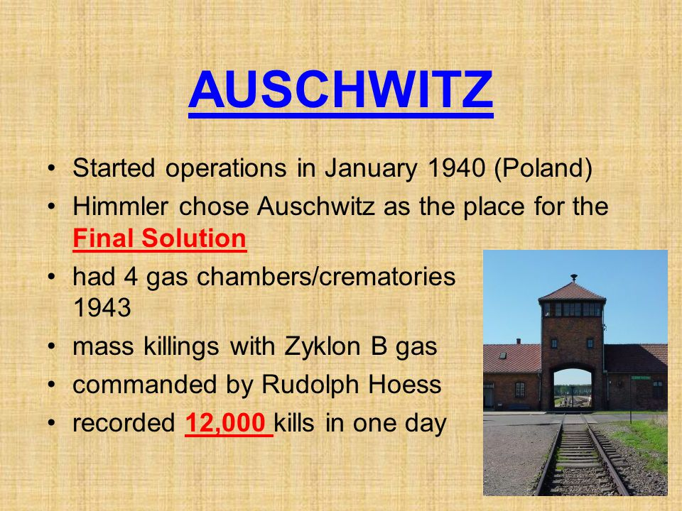 AUSCHWITZ Started operations in January 1940 (Poland)