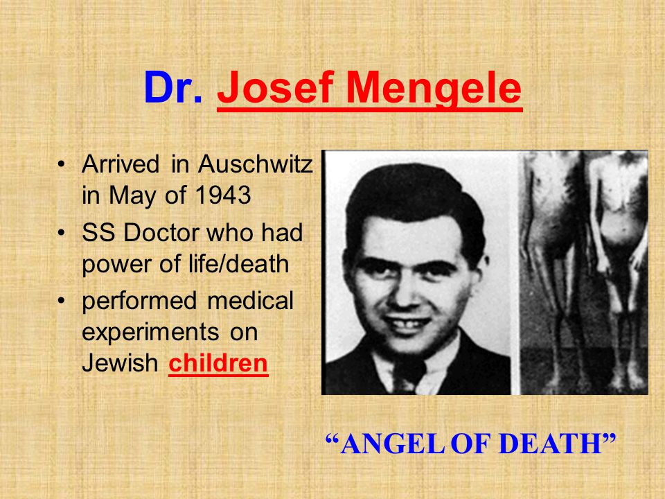 Dr. Josef Mengele ANGEL OF DEATH Arrived in Auschwitz in May of 1943