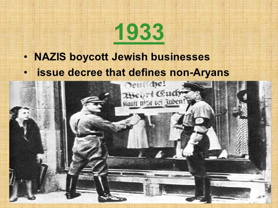 1933 NAZIS boycott Jewish businesses
