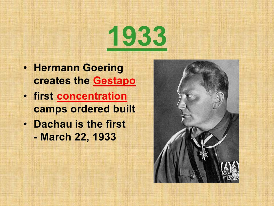 1933 Hermann Goering creates the Gestapo
