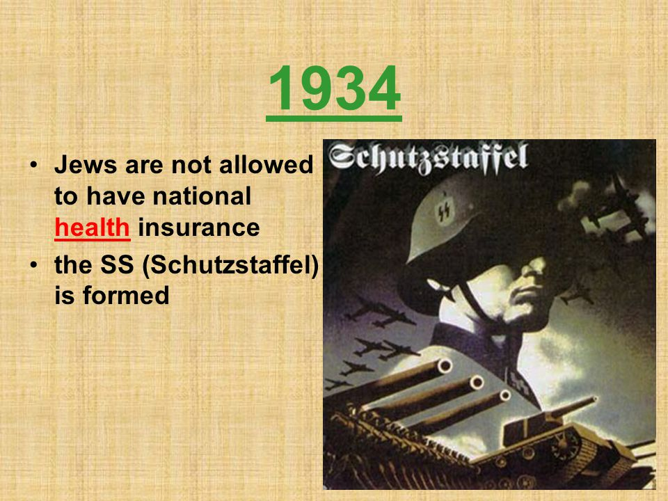 1934 Jews are not allowed to have national health insurance