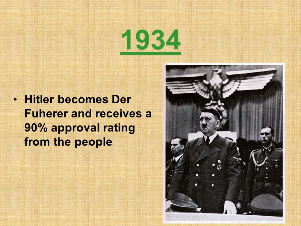 1934 Hitler becomes Der Fuherer and receives a 90% approval rating from the people