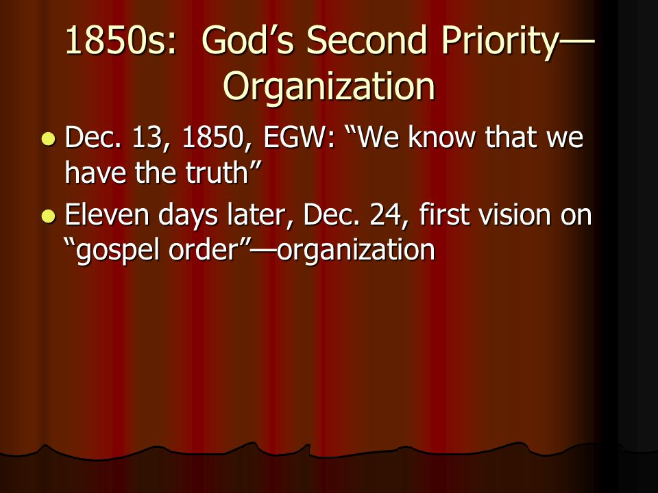 1850s: God's Second Priority—Organization
