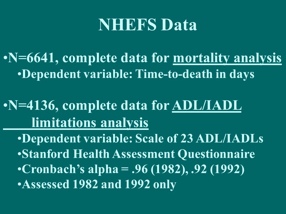 NHEFS Data N=6641, complete data for mortality analysis