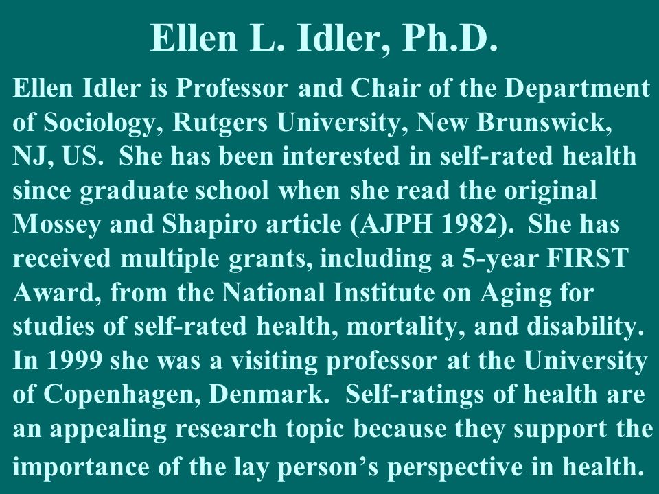 Ellen L. Idler, Ph.D.