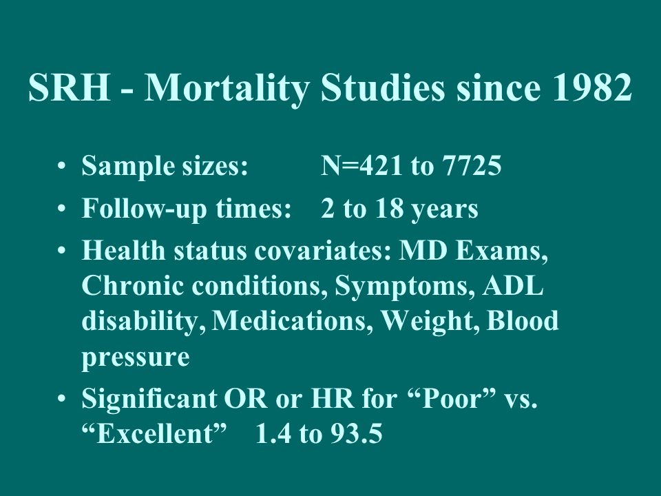 SRH - Mortality Studies since 1982