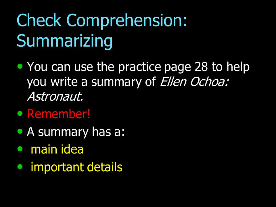 Check Comprehension: Summarizing