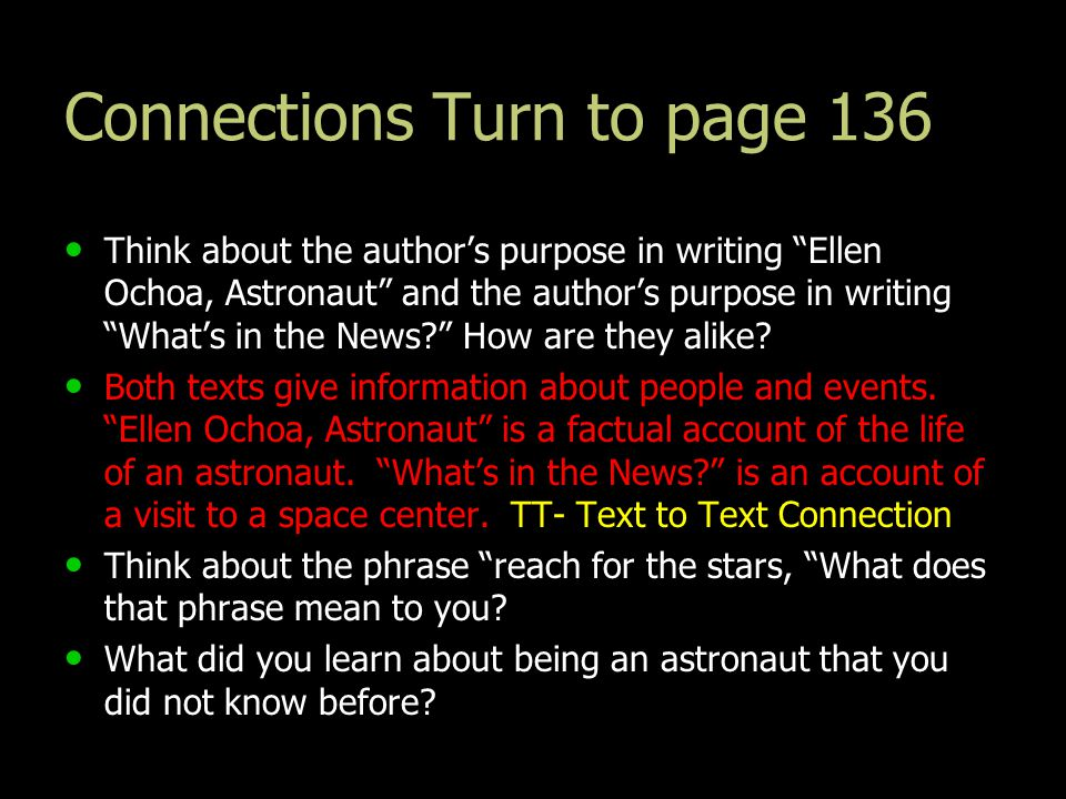 Connections Turn to page 136