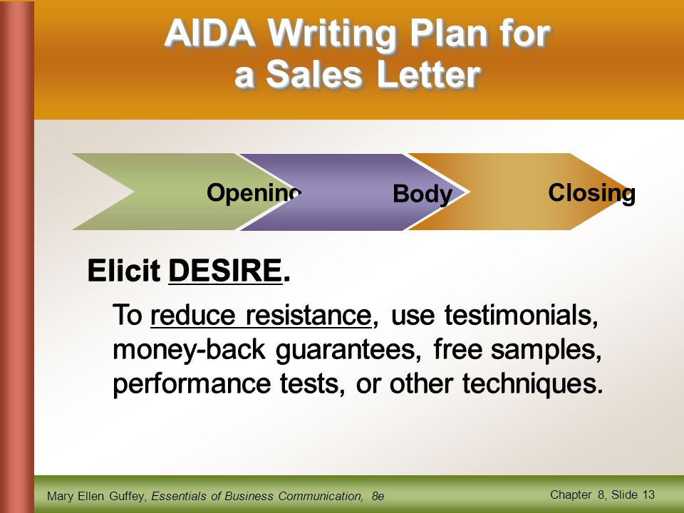 AIDA Writing Plan for a Sales Letter