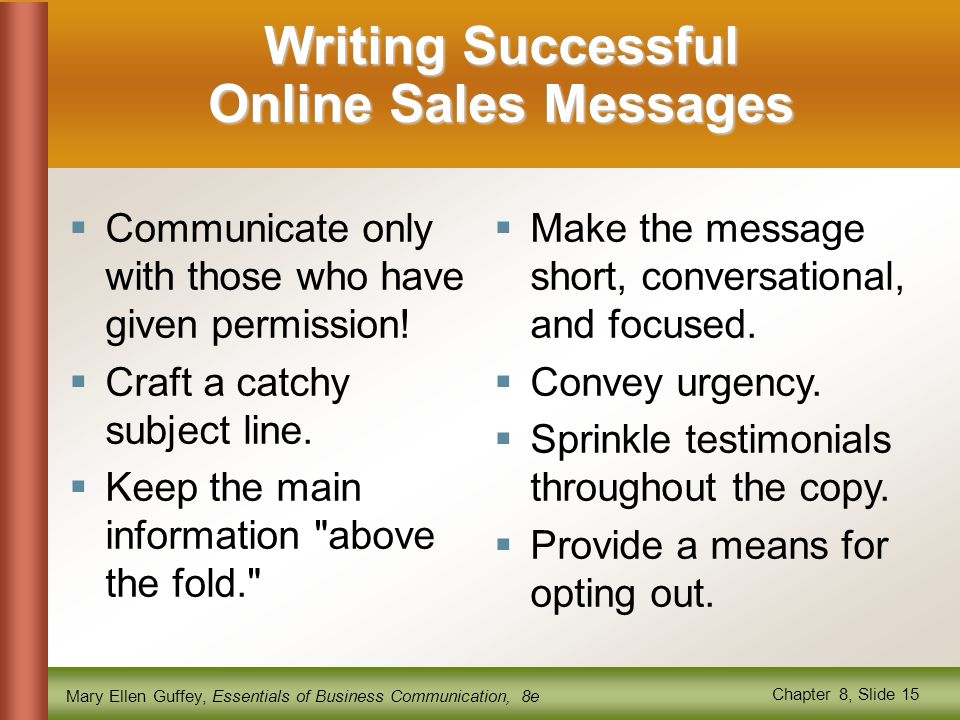 Writing Successful Online Sales Messages