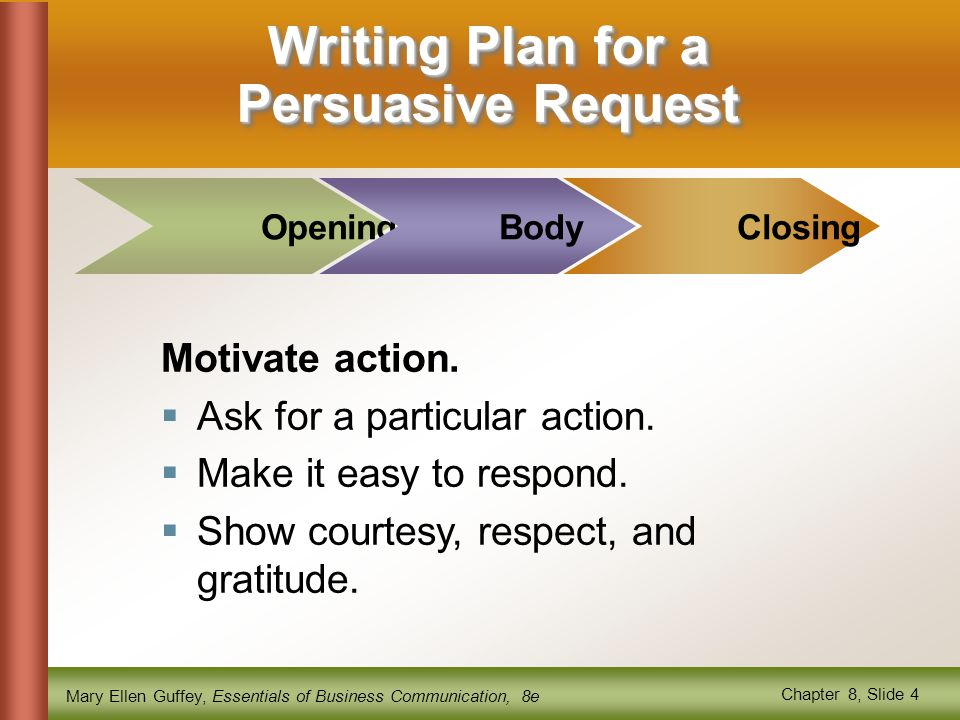Writing Plan for a Persuasive Request