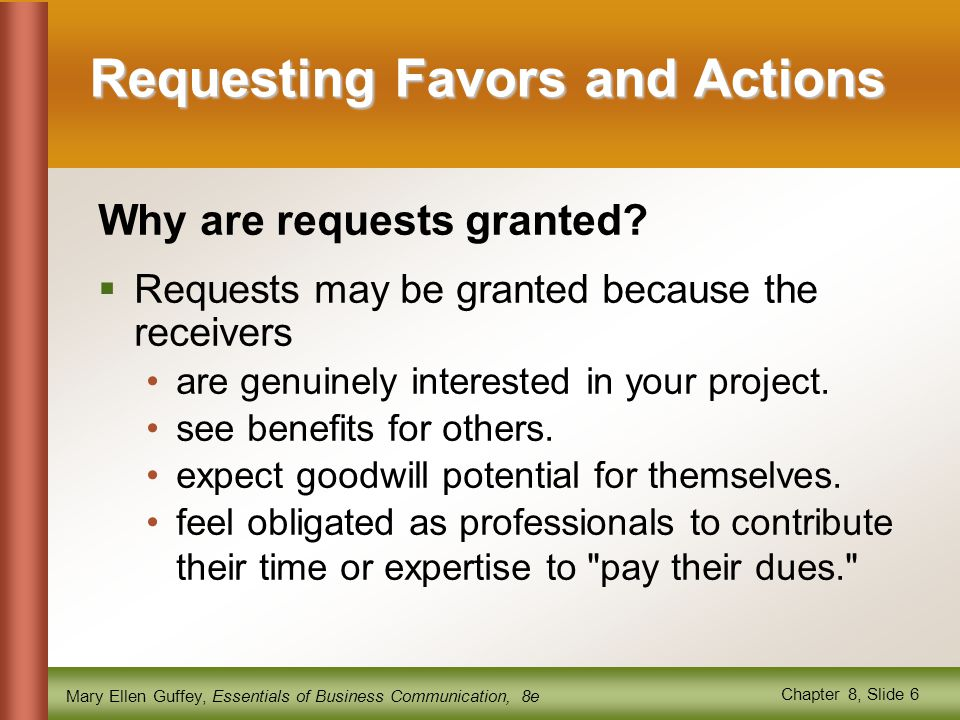 Requesting Favors and Actions