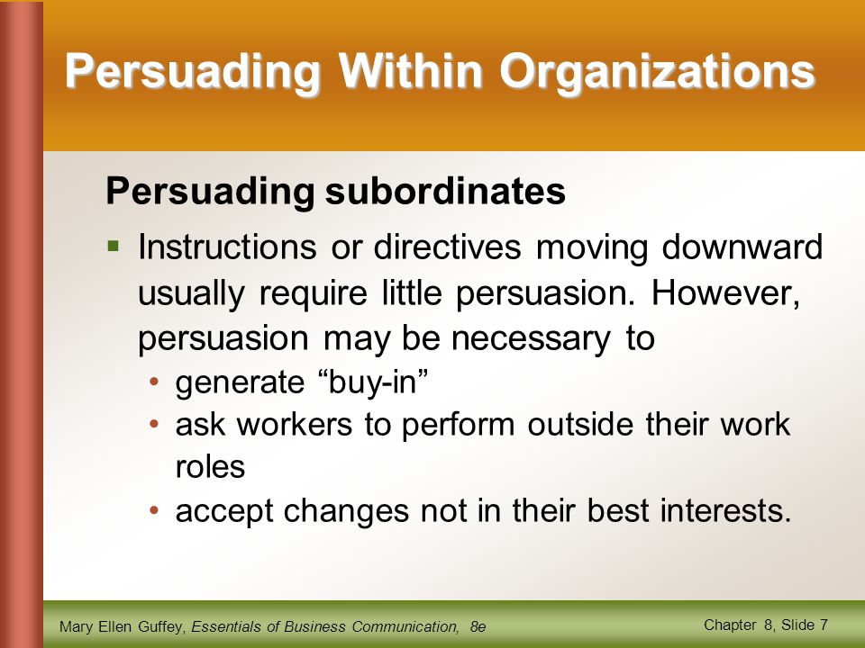 Persuading Within Organizations