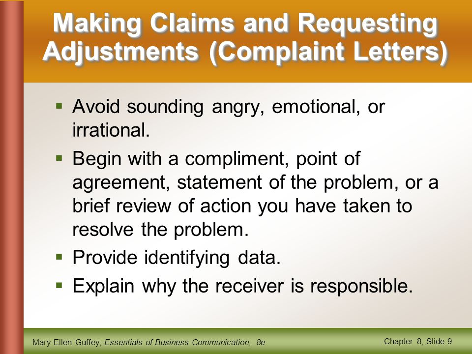 Making Claims and Requesting Adjustments (Complaint Letters)