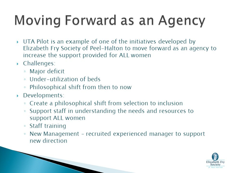 Moving Forward as an Agency