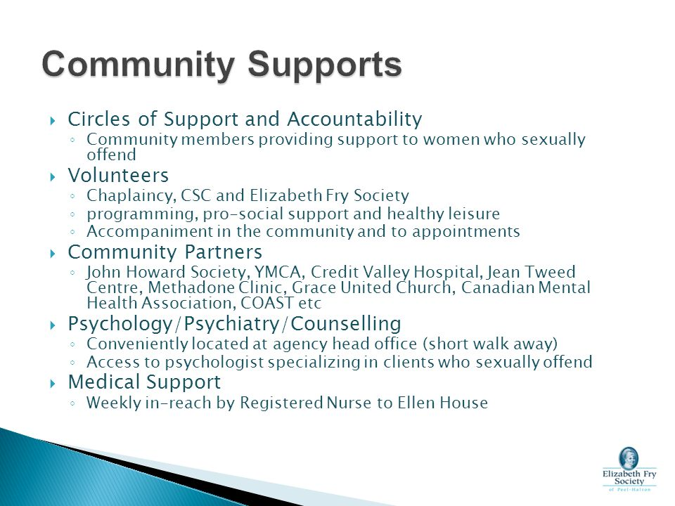 Community Supports Circles of Support and Accountability Volunteers