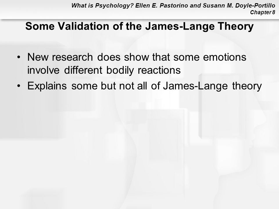 Some Validation of the James-Lange Theory