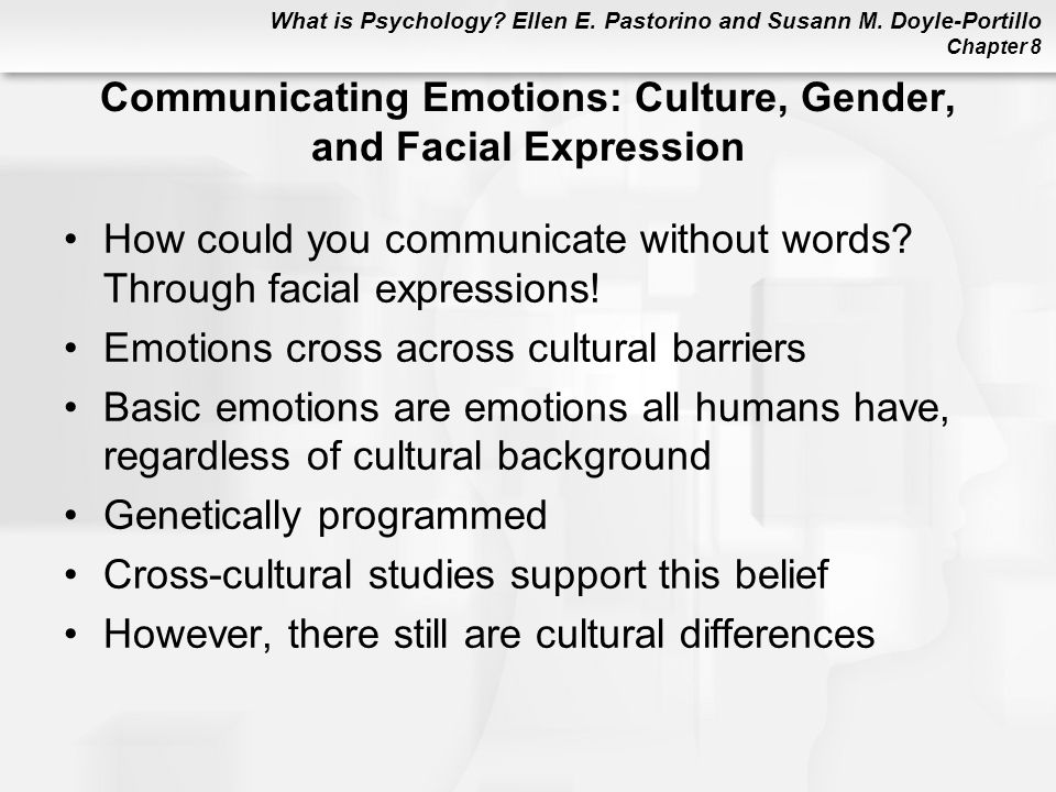 Communicating Emotions: Culture, Gender, and Facial Expression