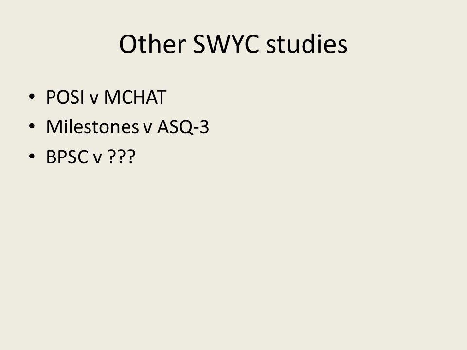 Other SWYC studies POSI v MCHAT Milestones v ASQ-3 BPSC v