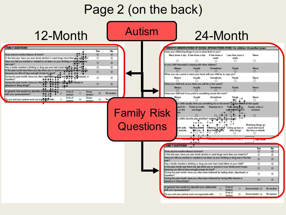 Page 2 (on the back) Autism 12-Month 24-Month Family Risk Questions