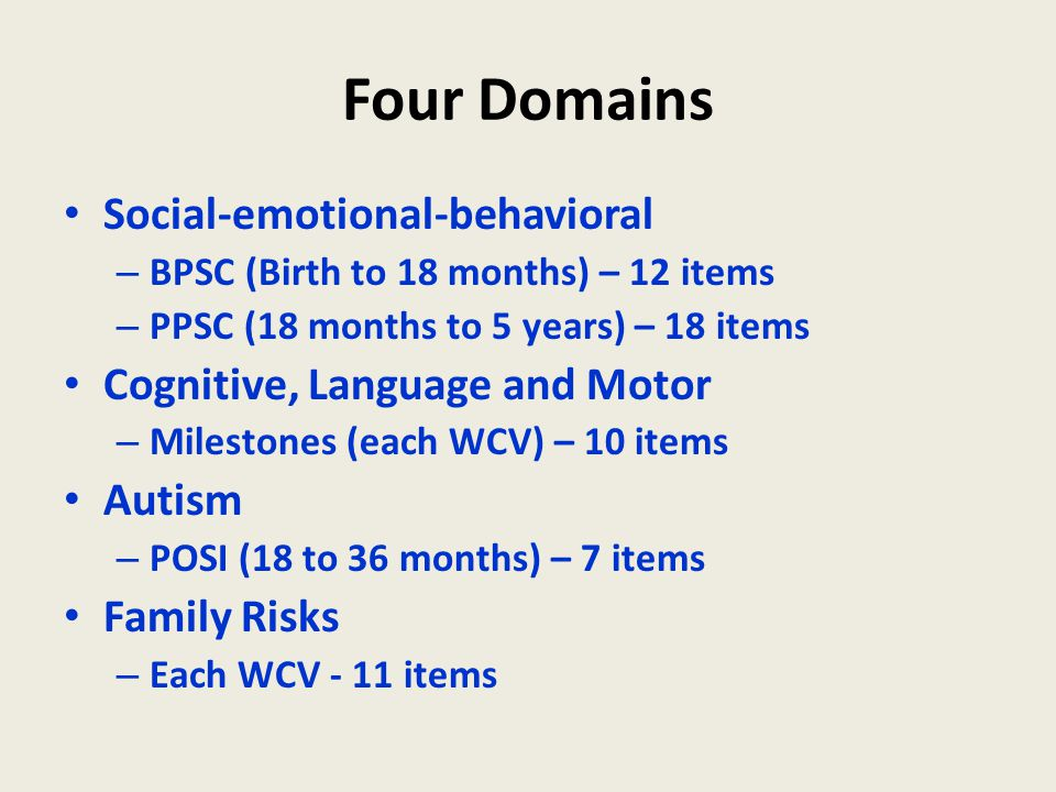 Four Domains Social-emotional-behavioral Cognitive, Language and Motor