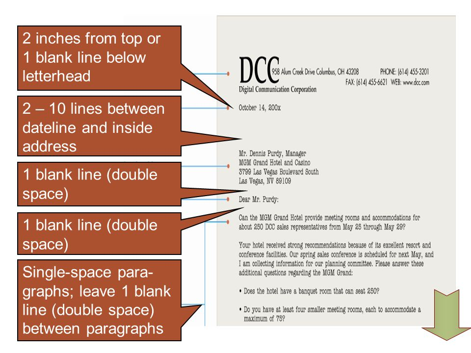 2 inches from top or 1 blank line below letterhead 2 – 10 lines between dateline and inside address.