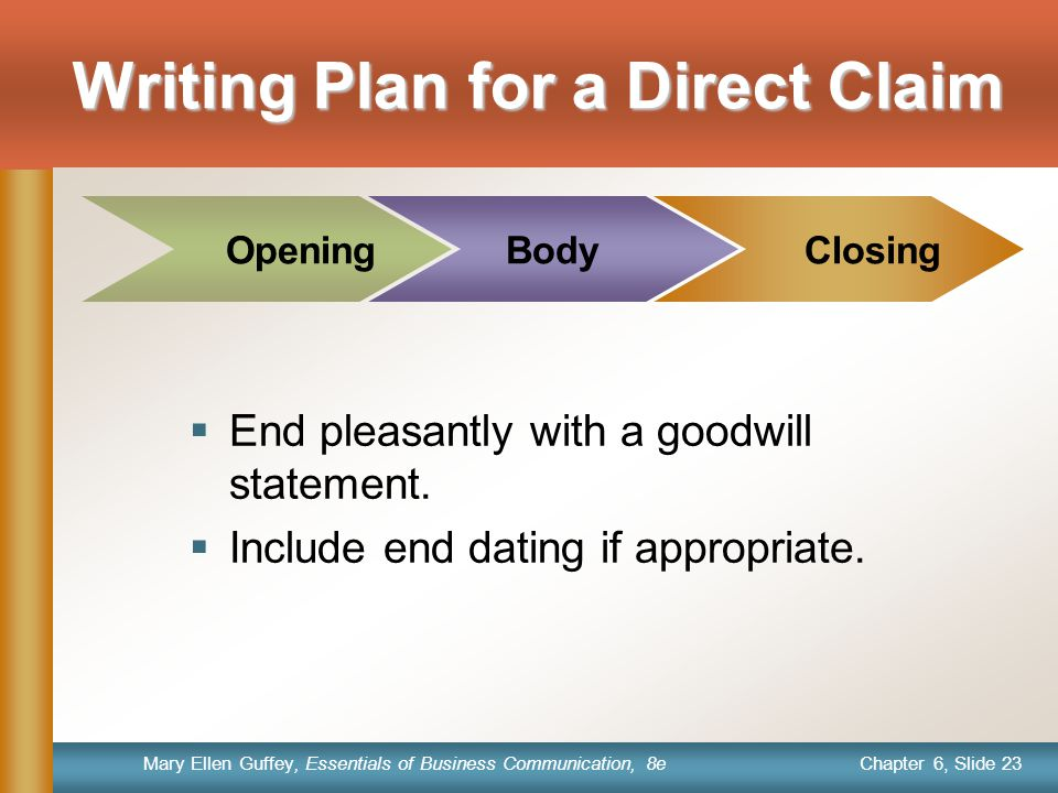 Writing Plan for a Direct Claim