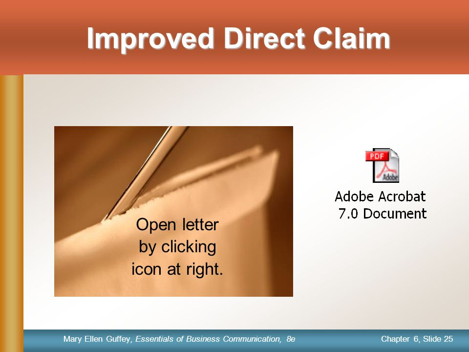 Improved Direct Claim Open letter by clicking icon at right.