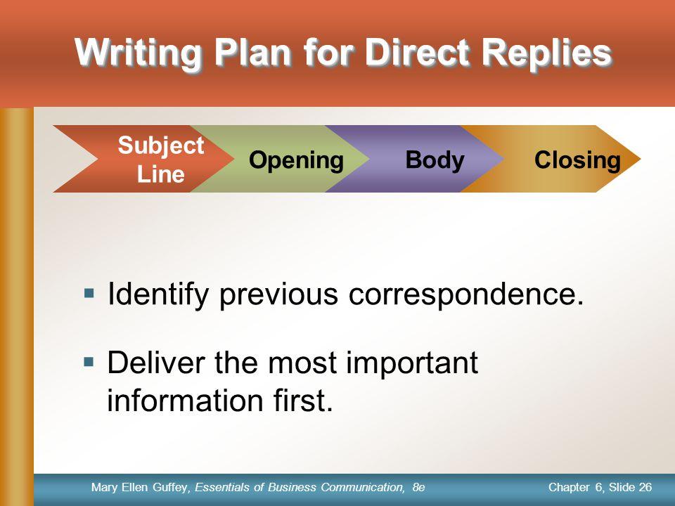 Writing Plan for Direct Replies