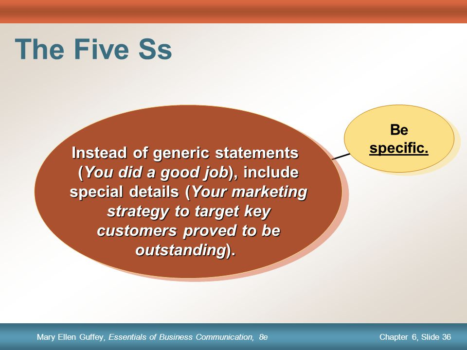 The Five Ss (You did a good job), include