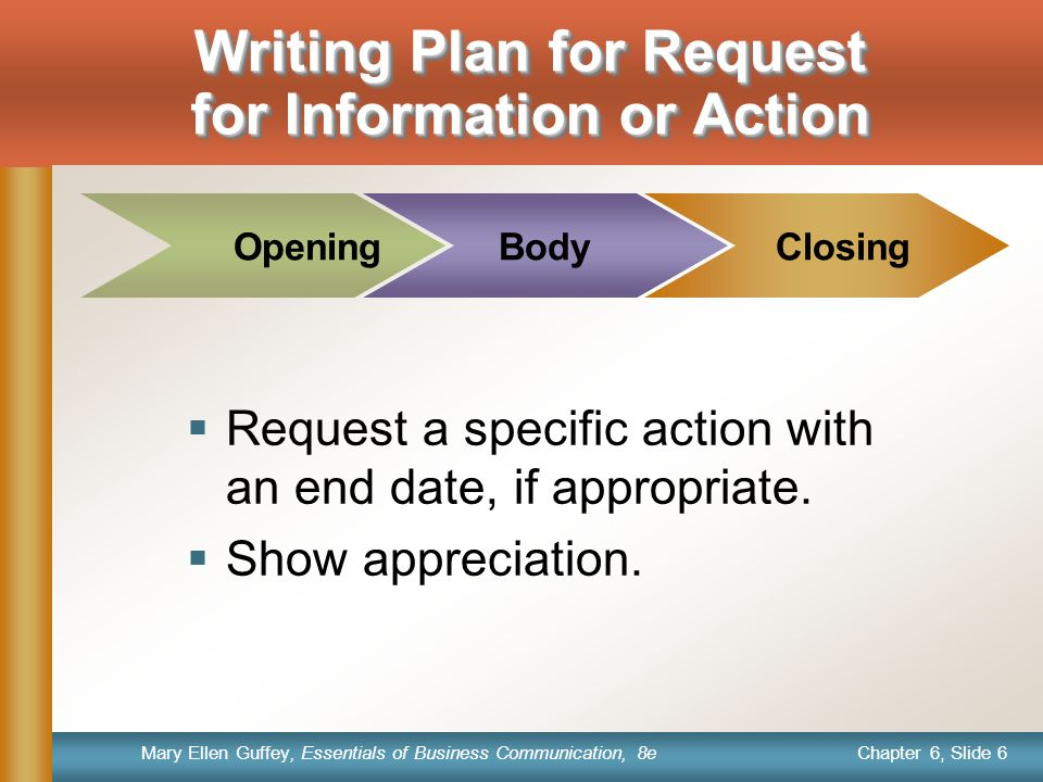 Writing Plan for Request for Information or Action