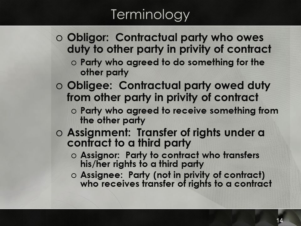 Terminology Obligor: Contractual party who owes duty to other party in privity of contract. Party who agreed to do something for the other party.