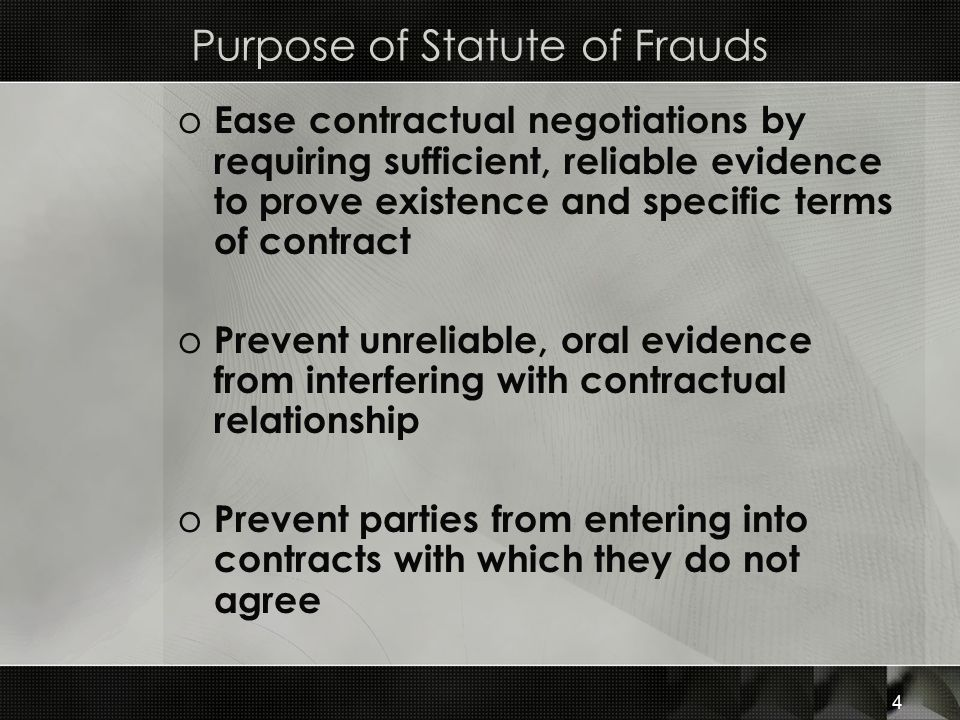 Purpose of Statute of Frauds