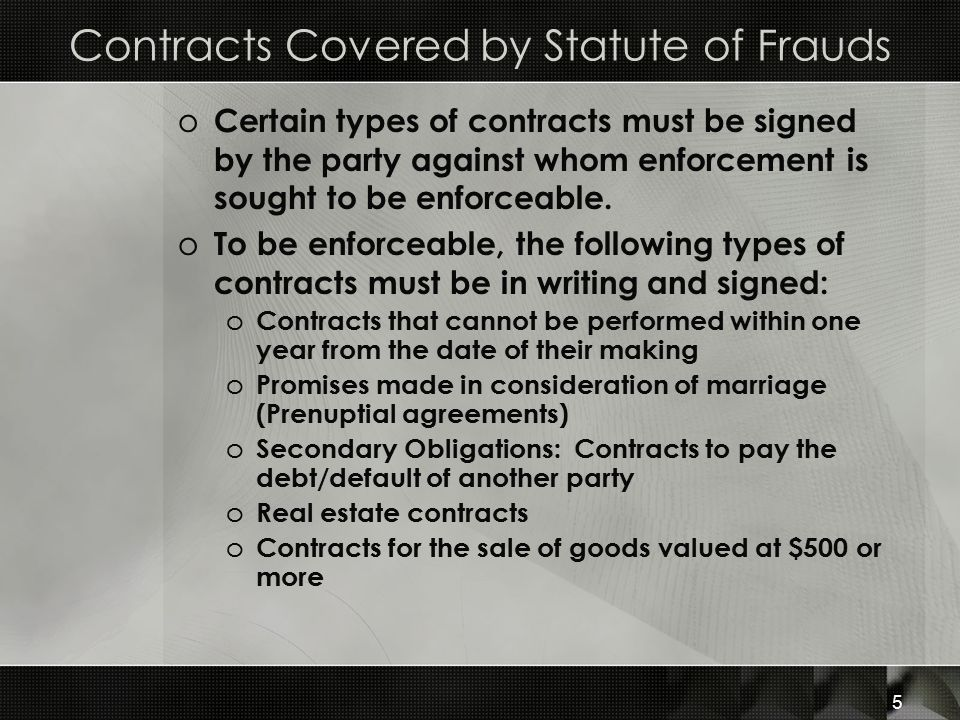Contracts Covered by Statute of Frauds