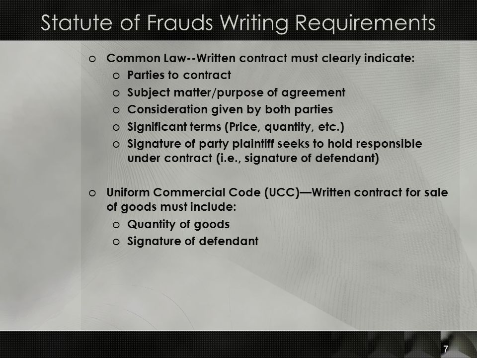 Statute of Frauds Writing Requirements