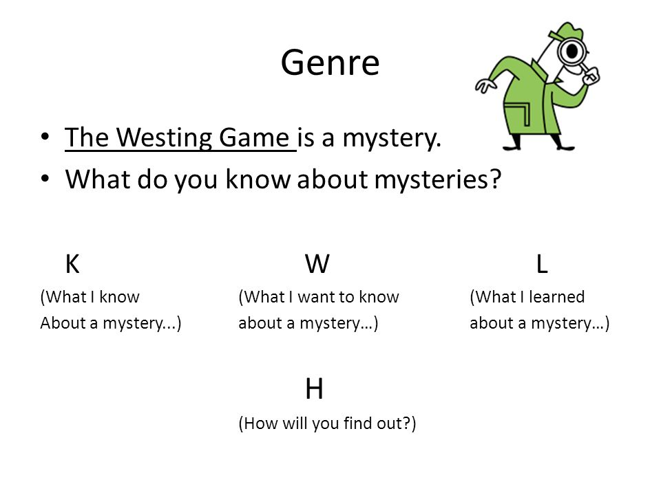 Genre The Westing Game is a mystery. What do you know about mysteries