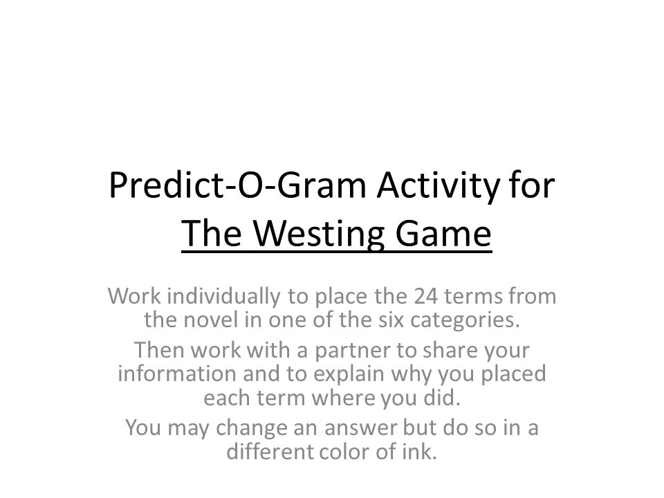Predict-O-Gram Activity for The Westing Game