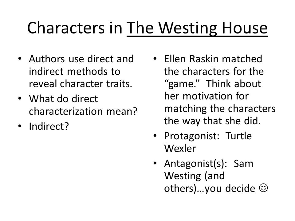Characters in The Westing House